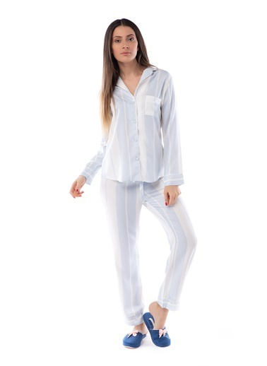 Pamuk & Pamuk Mavi Çizgili Gömlek Kadın Pijama Takım Renkli